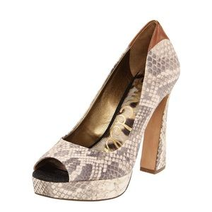 Sam Edelman Snake Print Tacoma Open-Toe Pump Heels